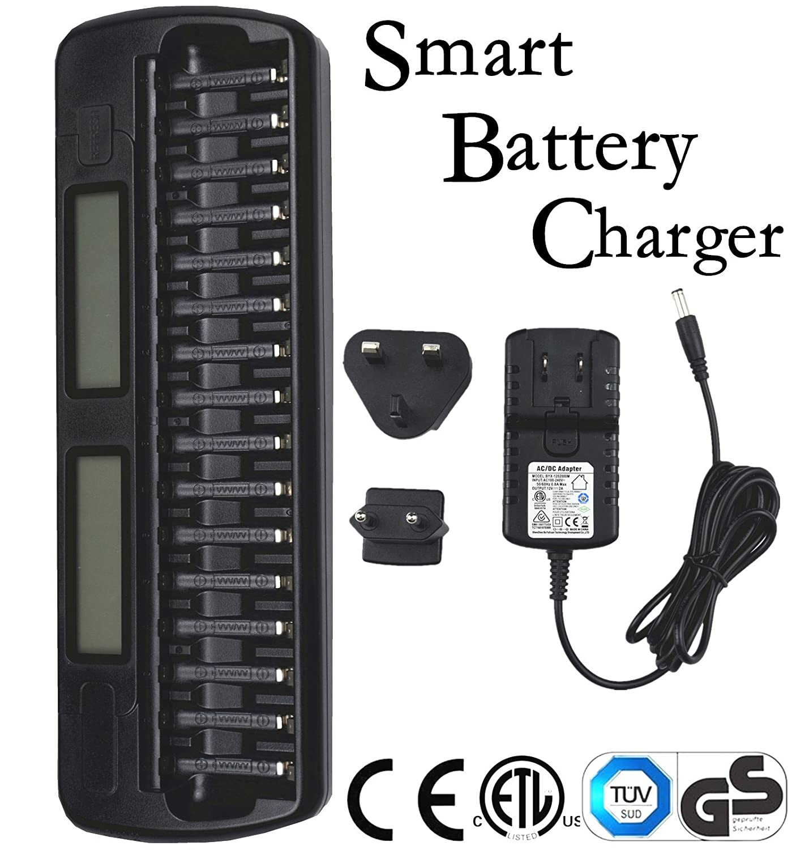Union_Linktech Caricabatteria intelligente 1-16 slot per NiMH/NiCd AA e AAA per ricarica e scarica, con display LCD per stato di carica e scarica individuale, Certificato di sicurezza: CE, GB, GS, UL