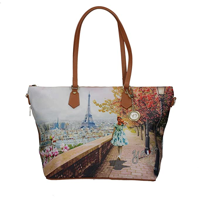 Borsa Y Not Parigi Eiffel J-397 Shopping grande  Amazon.it  Scarpe e borse b257233e3a6