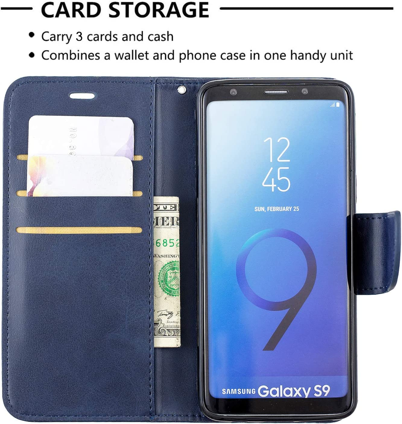 LOBFE150218 Red Lomogo Samsung Galaxy S9 G960 Case Leather Wallet Case with Kickstand Card Holder Shockproof Flip Case Cover for Samsung Galaxy S9