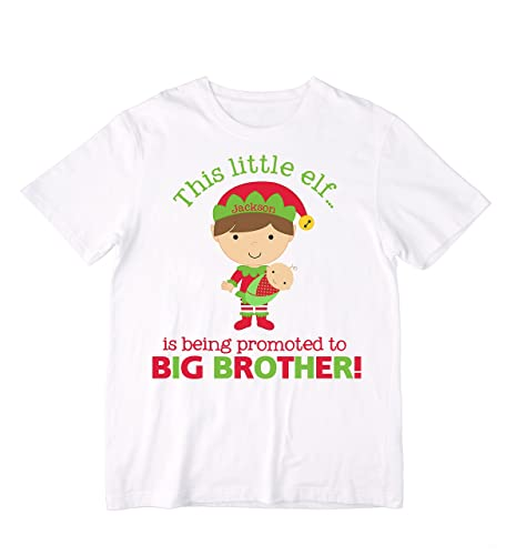 ae070f22 Amazon.com: Personalized This little elf...is being promoted to BIG BROTHER!  Shirt or Bodysuit - Christmas Pregnancy Announcement: Handmade
