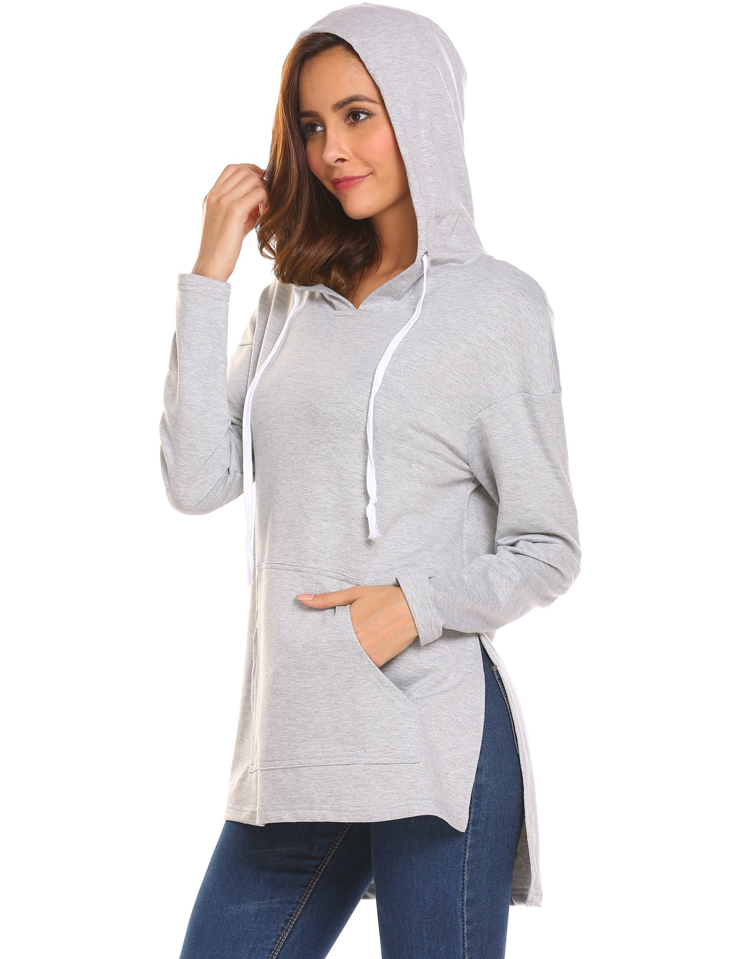 Miageek Womens's Side Slit Pullover Ribbed Drawstring Sweatshirt Hoodie