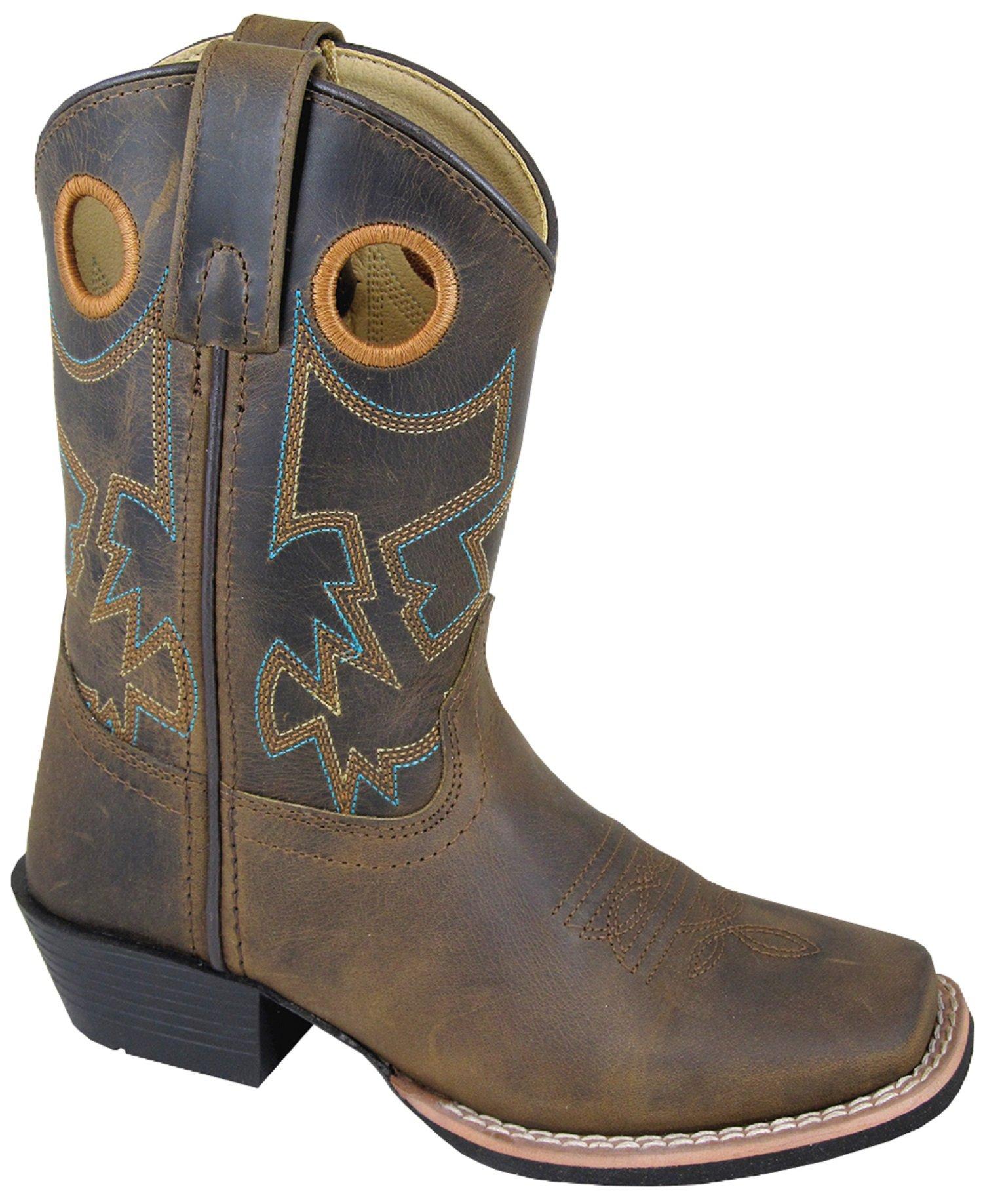 Smoky Boys Brown Wax Distress Mesa Square Toe Western Boot