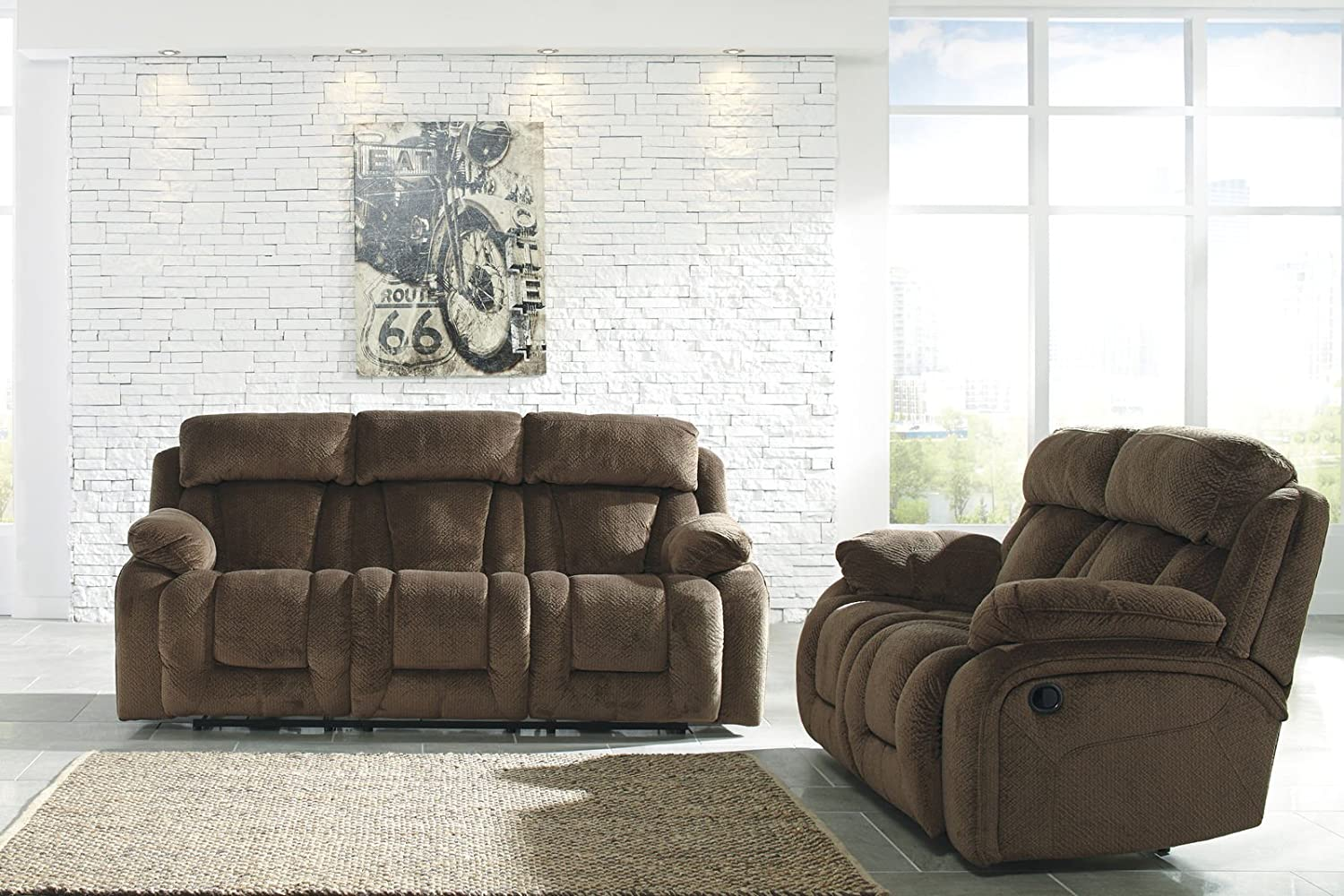 Amazon.com: Ashley Stricklin Reclining Sofa in Chocolate: Kitchen ...