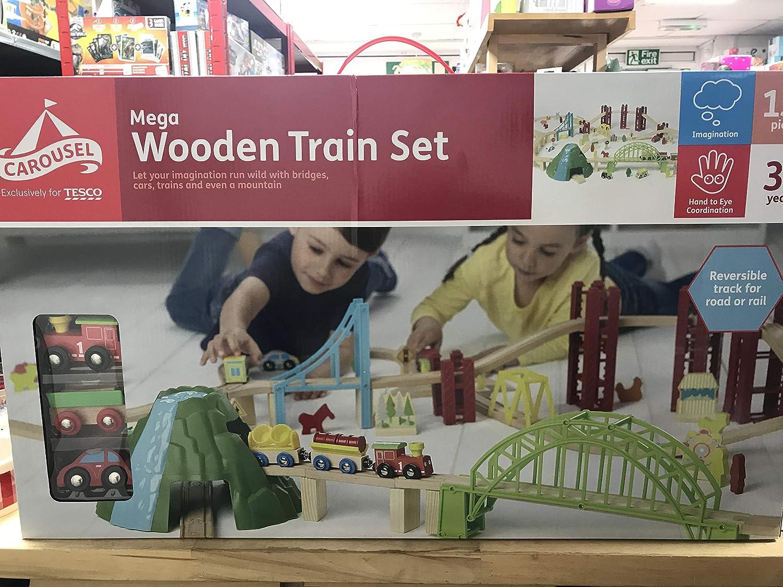 Carousel Mega Wooden City Train Set 150 Pieces Amazoncouk Toys