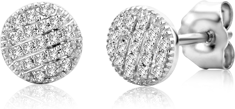 Miore SA913E - Pendientes de oro blanco de 9 quilates con diamante (.114) con cierre de mariposa a presión