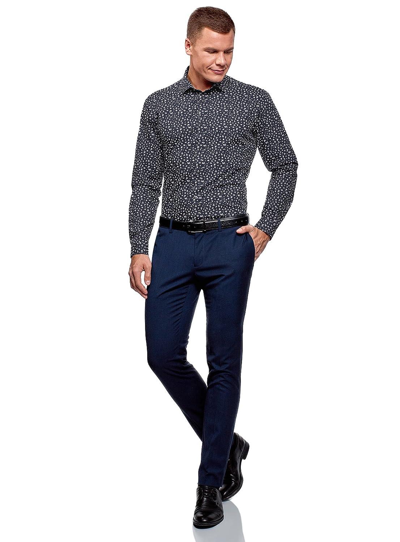 oodji Ultra Uomo Camicia Stampata Aderente