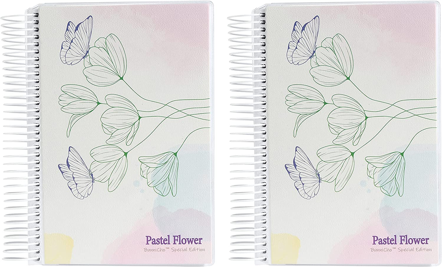 """BunniCho Pastel Flower Daily Planner, 5"""" x 7"""", Spiral-O Binding, Changeable Cover, Includes Index Stickers, Bullet Dot Stickers and Tatto Stickers, 2pcs/Pack (BCPF-P-160): Office Products"""