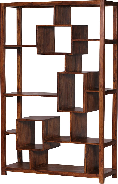 Wohnling Bucherregal Massiv Holz Sheesham 115 X 180 Cm Wohnzimmer