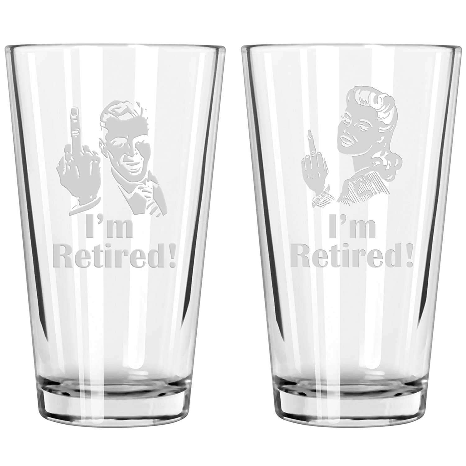 "Retirement Gift Celebration Glass, Drinking Glass for Men, Funny Beer Glasses for Retired Adult Men - ""I'm Retired!"" Pint Glass Crass Glass CG115"