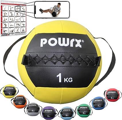 POWRX Wall Ball con Asas Laterales 1 kg - Ideal para Ejercicios de ...