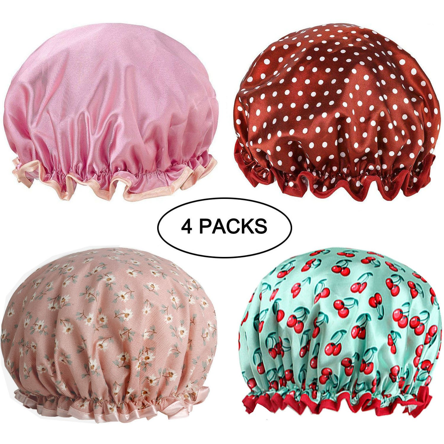 4 Pack Waterproof Lined Satin Shower Caps Reusable Washable Elastic Double Layers Shower Hats Salon SPA Dustproof Anti-fume Bath Caps for Women for Long Hair(Color1) Wuinio