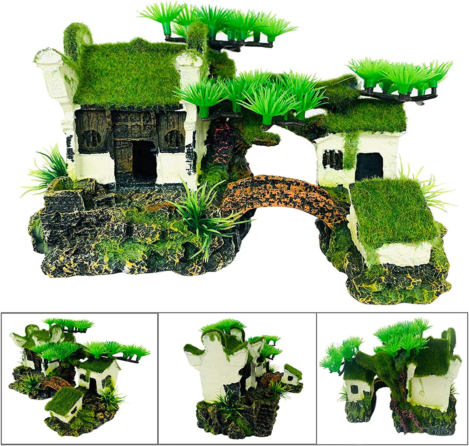 Hamiledyi Aquarium House Decorations Resin Fish Hideout Hut Betta Cave Rock Landscape Ornament Environments Asian Cottage with Bonsai and Mossy for Aquariums, Fish Tank, Gardens