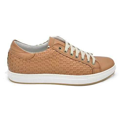 b0aadaf44e Pablo C - Scarpe Sneakers in Pelle Intrecciata a Mano, Colore Cuoio ...