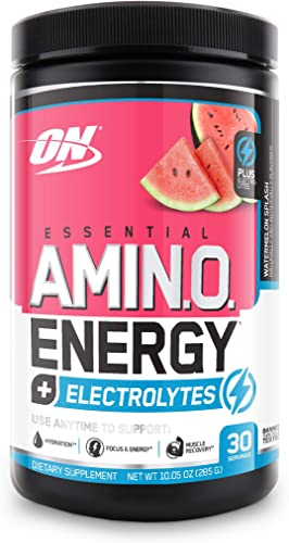 Optimum Nutrition Amino Energy Electrolytes – Pre Workout, BCAAs, Amino Acids, Keto Friendly, Energy Powder -Watermelon Splash, 30 Servings