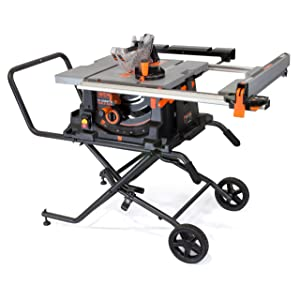 WEN 3720 15A Jobsite Table Saw with Rolling Stand, 10