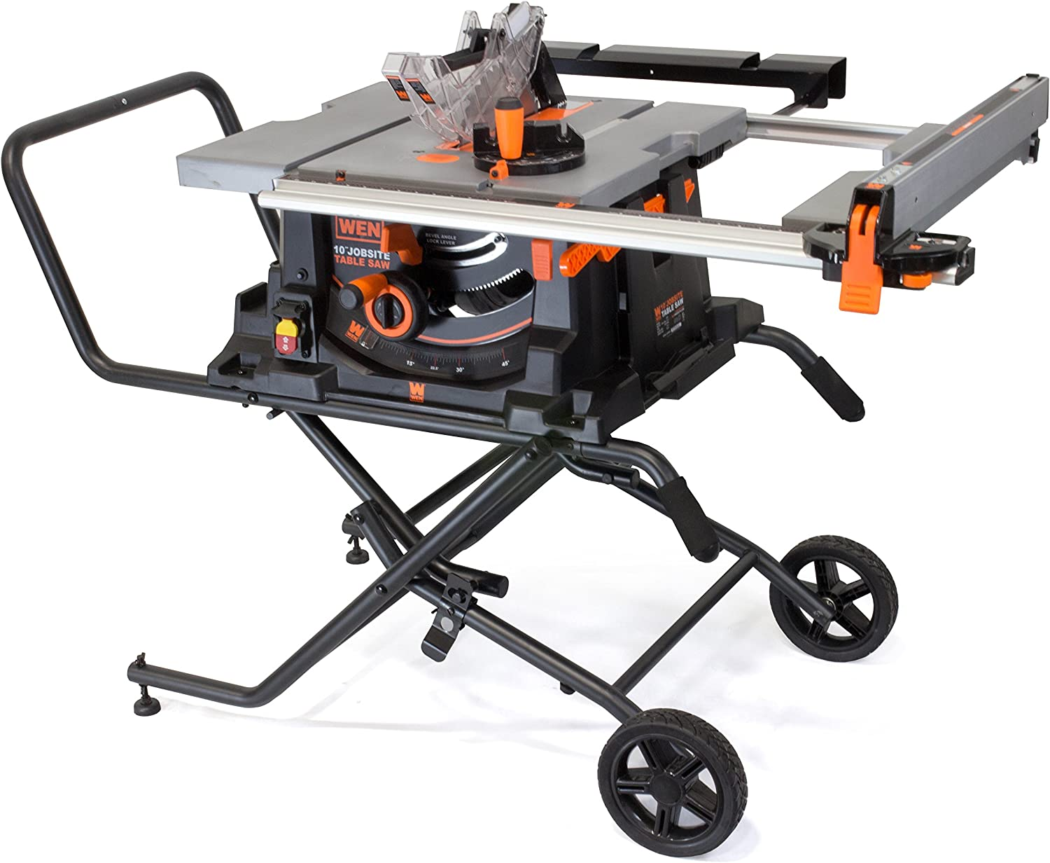 WEN 3720 15A Jobsite Table Saw with Rolling Stand, 10""