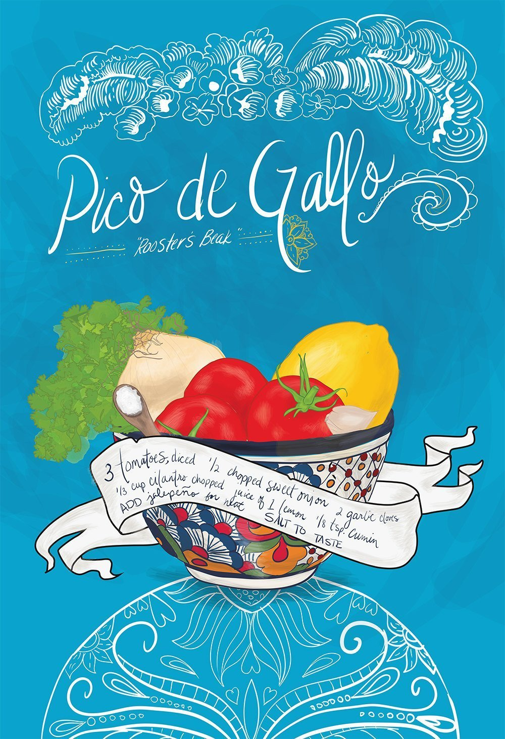 Amazon.com: Pico De Gallo Recipe Mexican Kitchen Print Illustrated Dia de los Muertos Salsa Recipe Giclee on Paper Canvas and Cotton Canvas Wall Decor Art: ...