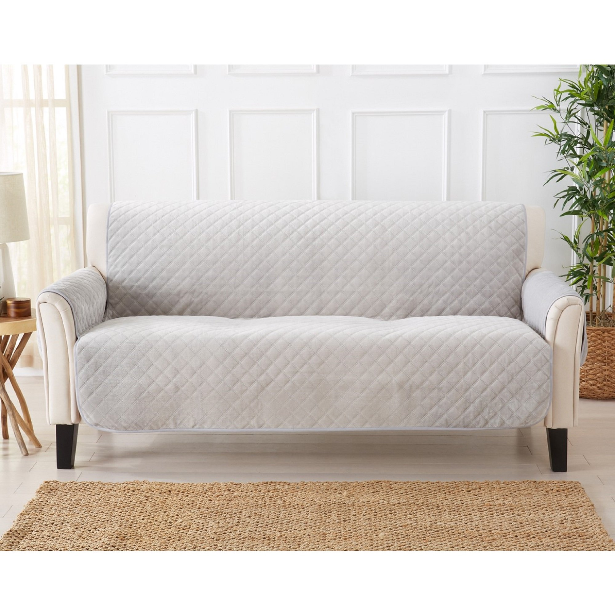 Modern Velvet Furniture Protector. Stain Resistant, Durable, Machine Washable. Perfect for Pets, Dogs & Kids (Sofa, Grey)