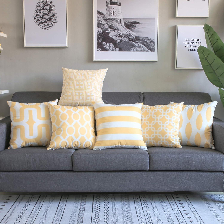 Topfinel Fundas cojín Lona de Almohadas Creativa para el sofá Juego de 6 45x45cm Amarillo: Amazon.es: Hogar
