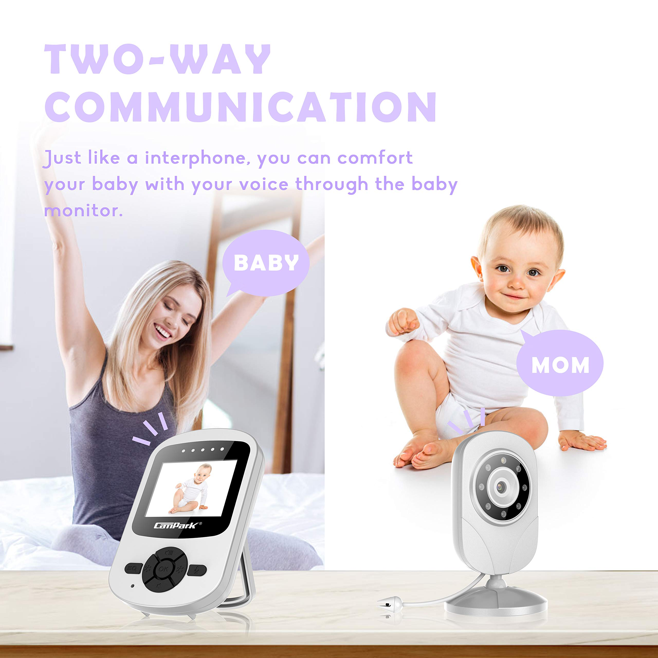 【2019 New Version】Campark Video Baby Monitor with Camera Infant Digital Cam Optics with Infrared Night Vision 2.4'' LCD 2.4GHz Wireless Transmission Two Way Talk Temperature Sensor VOX 4 in 1 Connect by Campark (Image #5)