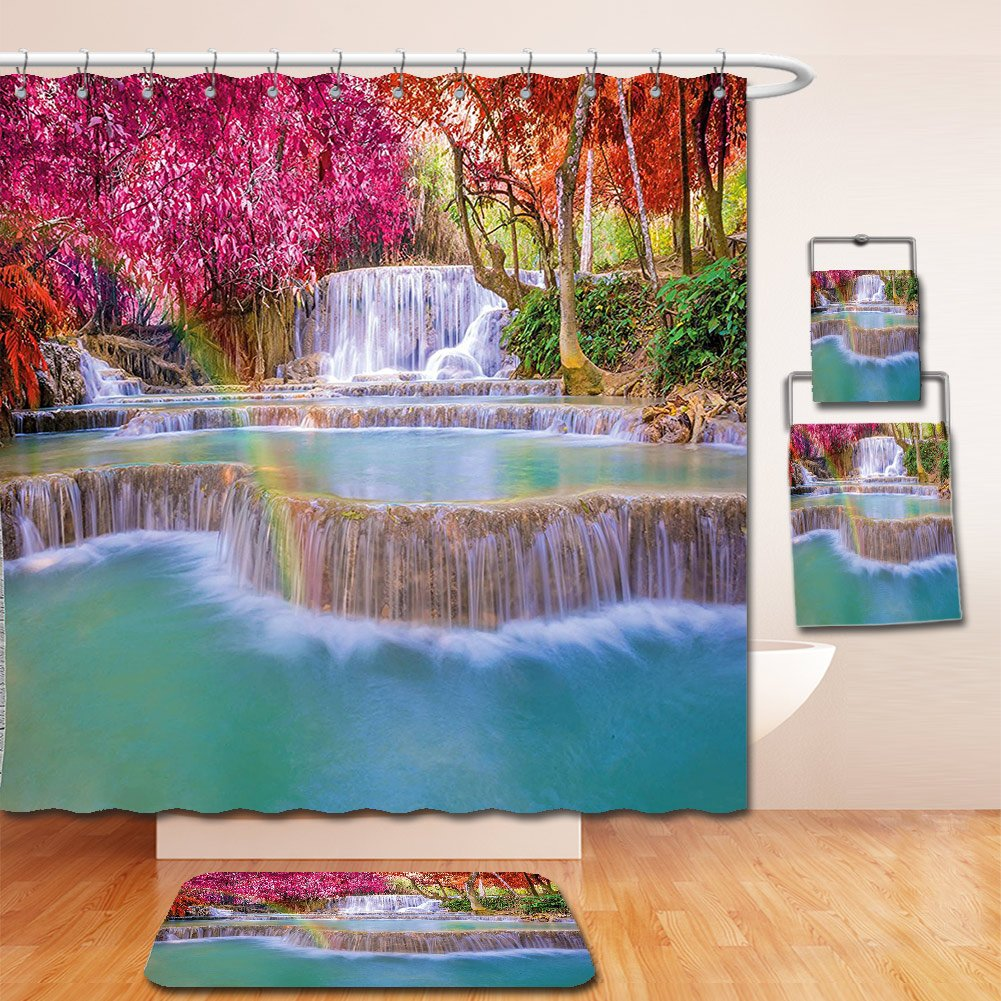 Nalahome Bath Suit: Showercurtain Bathrug Bathtowel Handtowel Waterfall Decor Rain Forest in Vietnam Laos with Asian Pink and Orange Trees side of River Image Pink