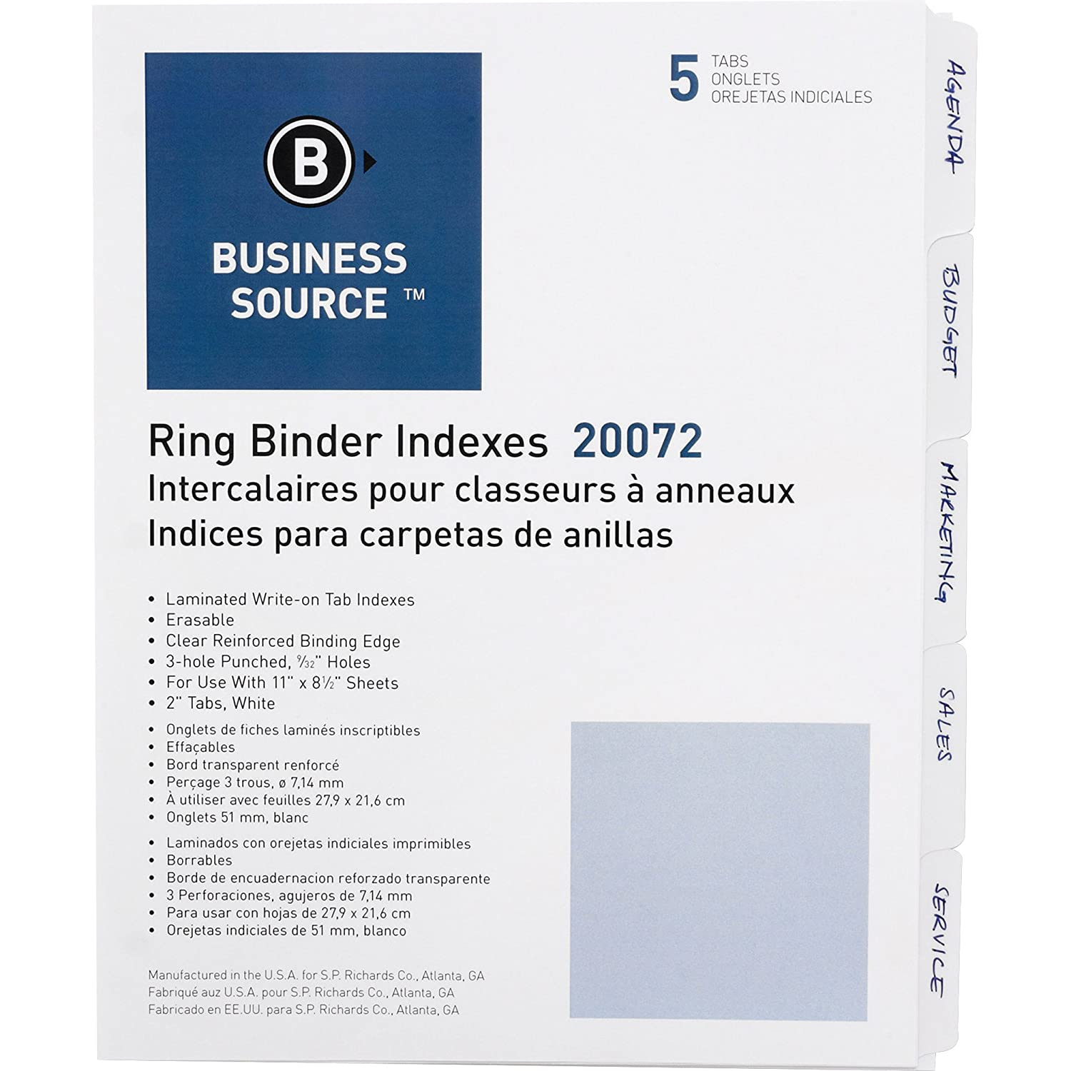 Business Source 3-Ring Plain Index Divider - Set of 5 Tabs - White (Package May vary)