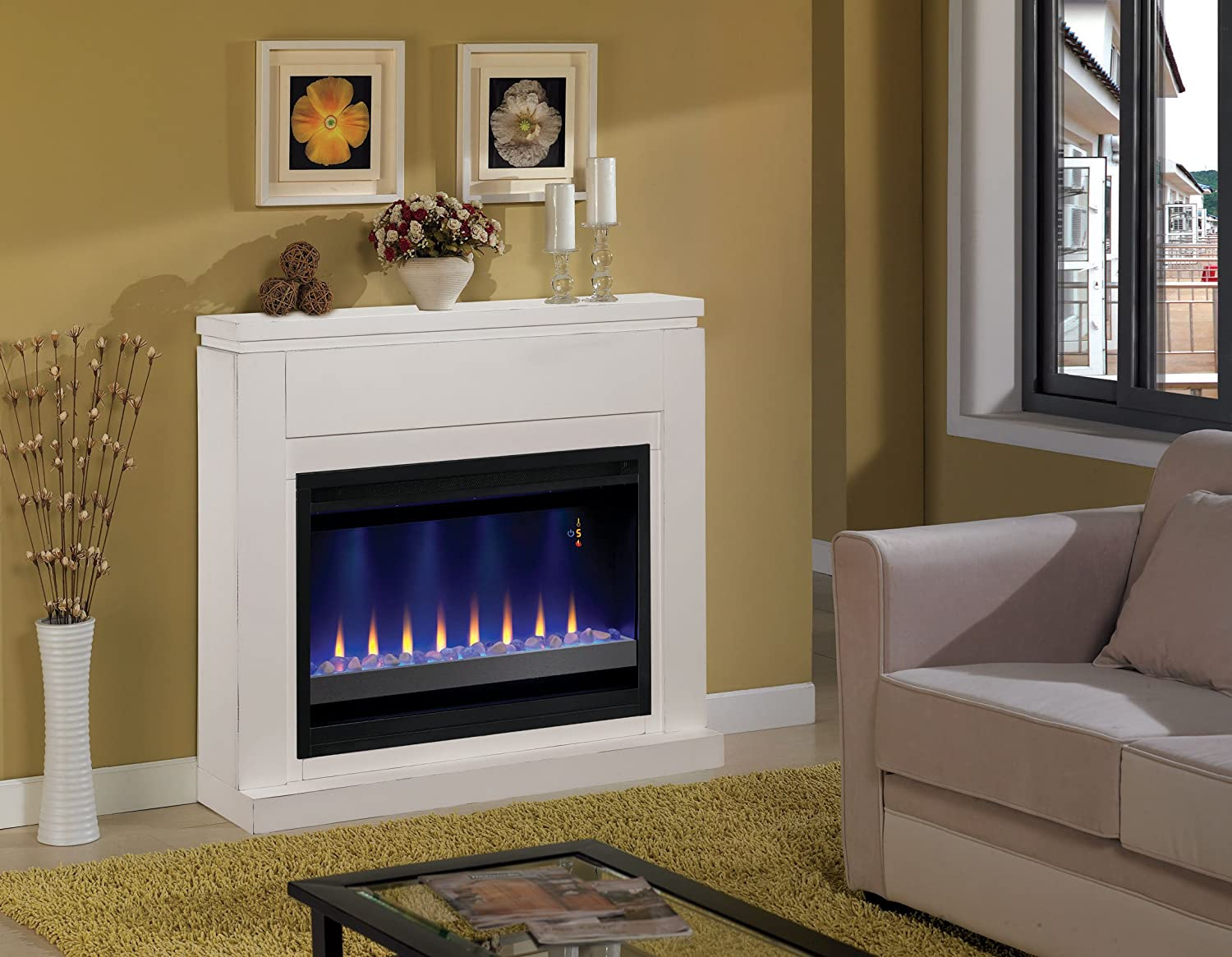 ClassicFlame 36WM1512-T401 Contemporary Wall Fireplace Mantel - White (Electric Fireplace Insert sold separately