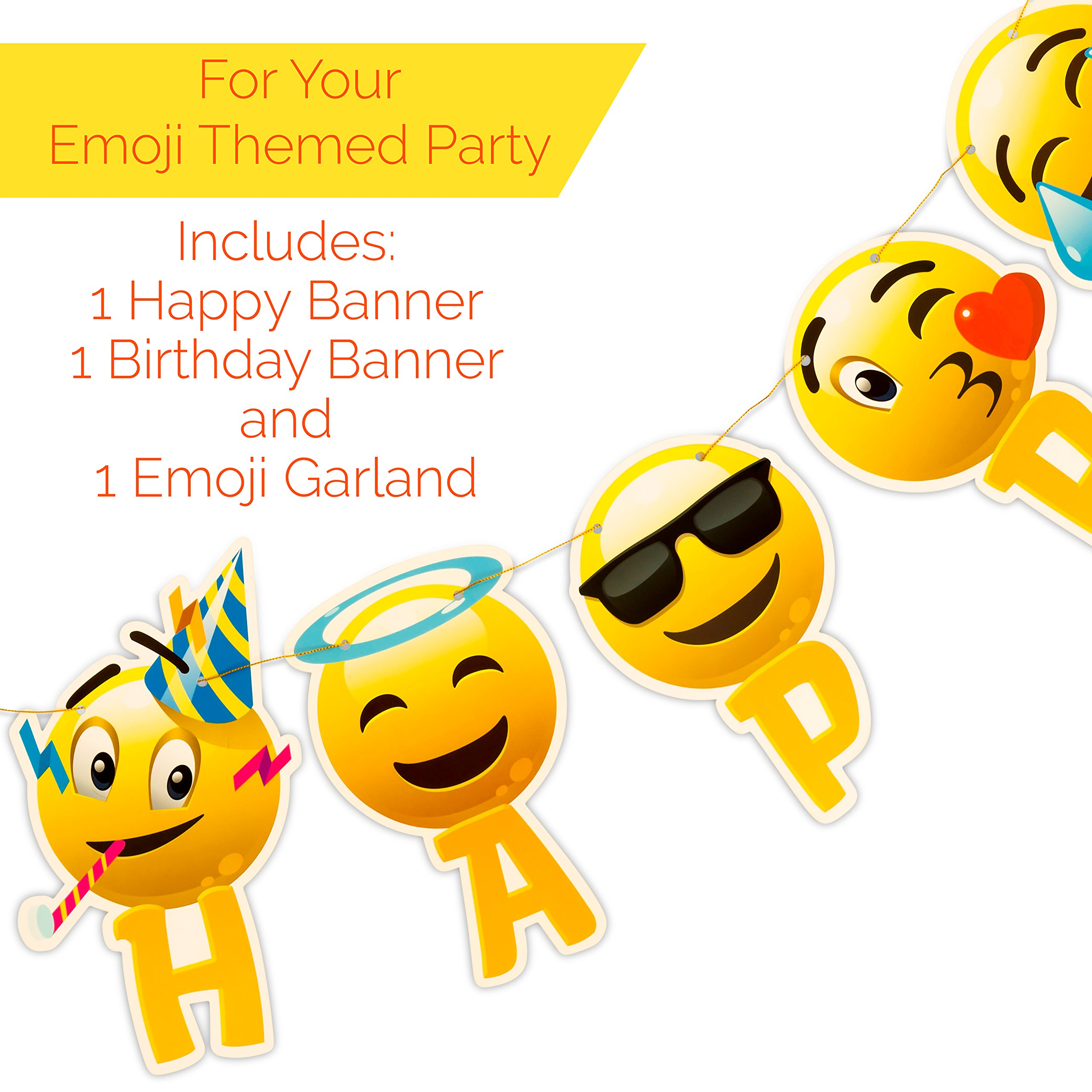 Artistrend Happy Birthday Banner Emoji With Garland Strip