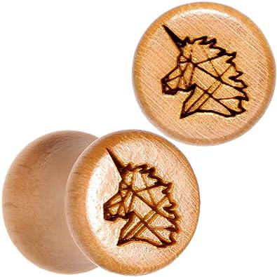 BodyCandy 2Pc Orgánico Madera Haya 8mm Montura Pendientes Calibre Pieza Geométrico Unicornio Tapón para Oídos Dilataciones Juego de 2 Calibre 0: Amazon.es: ...