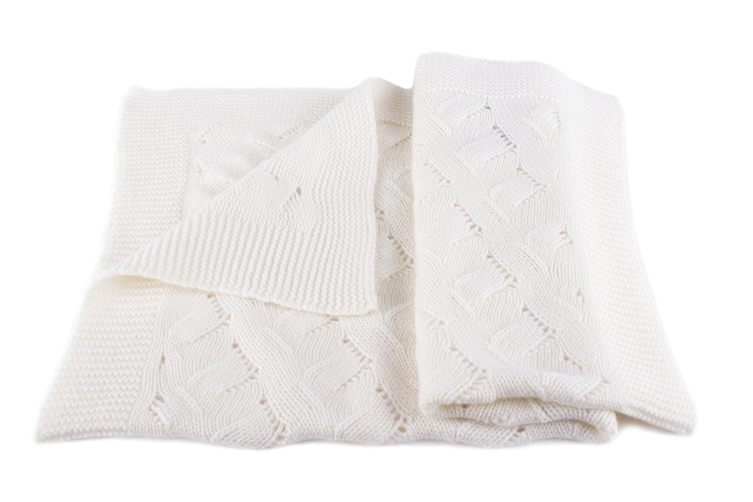 Unisex Luxury 100% Cashmere Baby Blanket - 'White' - hand made in Scotland by Love Cashmere - RRP $300 by Love Cashmere (Image #1)