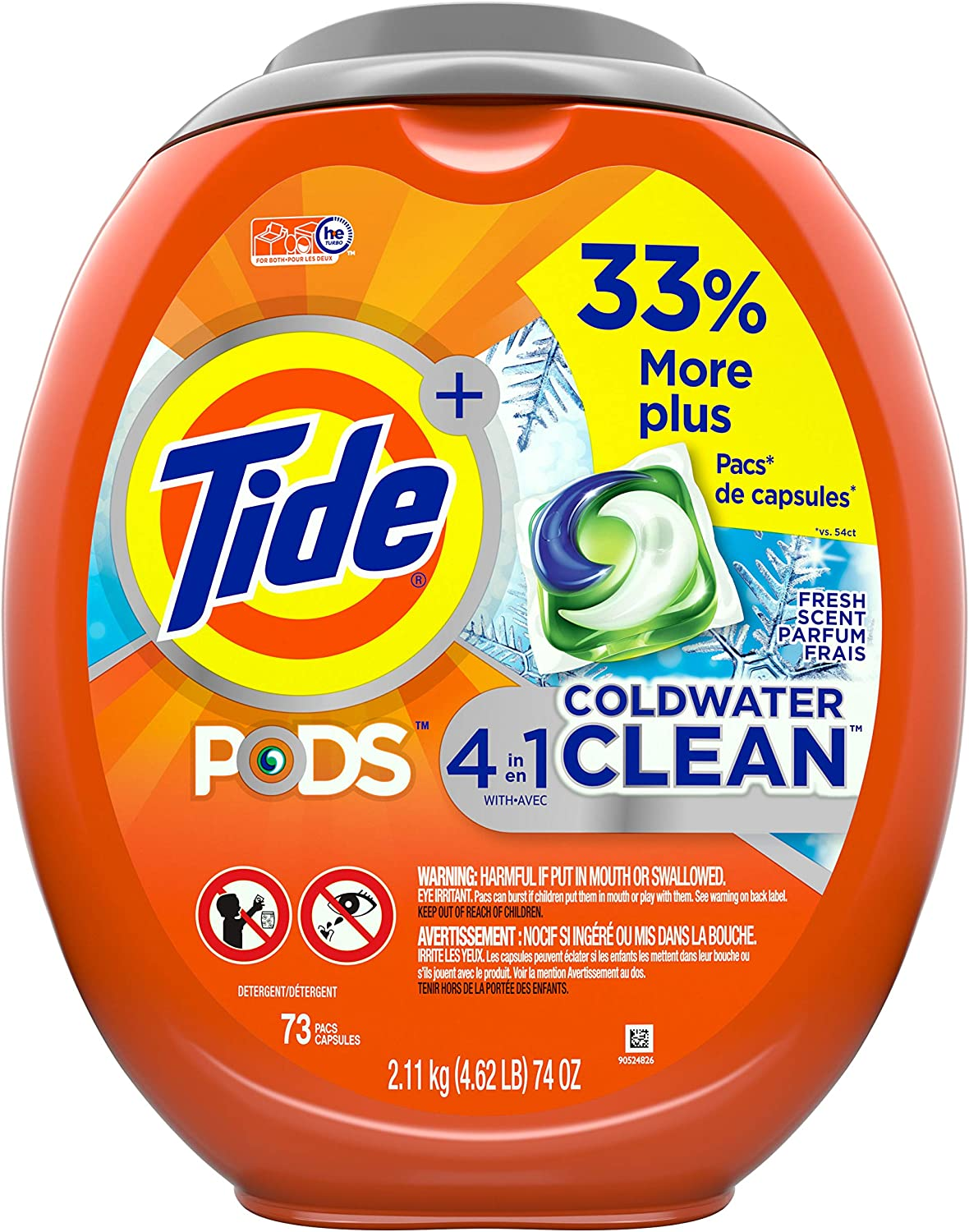 Tide Pods Coldwater Clean Liquid Laundry Detergent Pacs, Fresh Scent, 73 Count