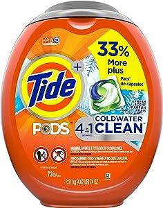 Tide Pods Coldwater Clean Liquid Laundry Detergent Pacs, Fresh Scent, 73 Count