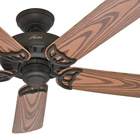Hunter Fan 52 inch Damp Rated Outdoor Ceiling Fan in White, 5 Blade Renewed New Bronze