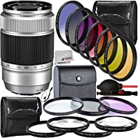 FUJIFILM XC 50-230mm f/4.5-6.7 OIS II Lens (Silver) with 17PC Accessory Bundle – Includes: 3PC Multi Coated HD Filter Set (UV, CPL, FLD) + 4PC Close-Up Macro Lens Set + More – Certified Refurbished