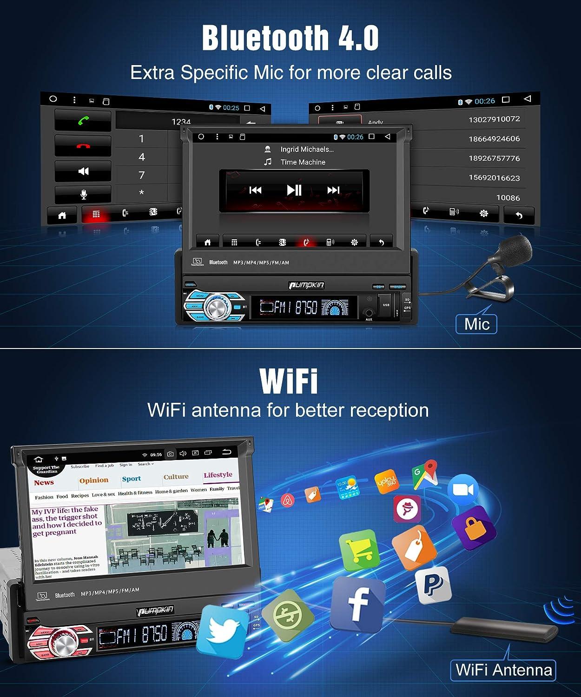 Mandos de Volante Mirror-link Pumpkin 1 Din Autoradio Android 8.1 Radio con Patanlla T/áctil soporta GPS USB WiFi SD Bluetooth 4K V/ídeo Bluetooth AV-OUT