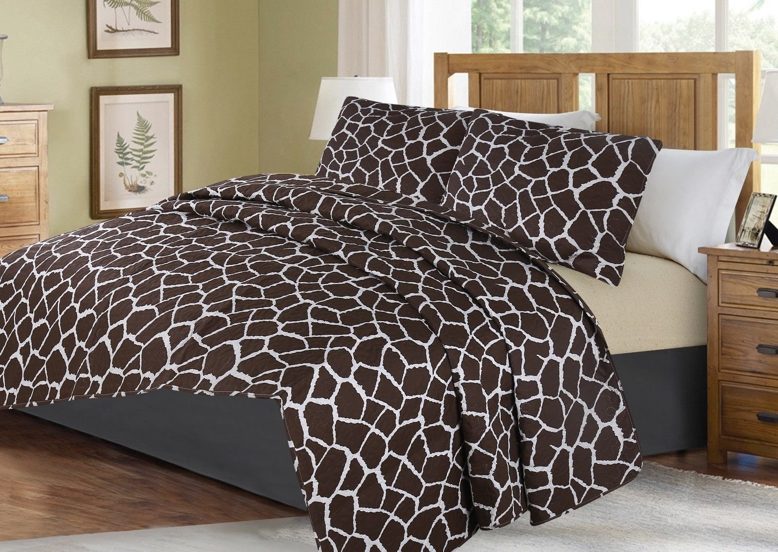 no!no! Printed Animal Designs Bedspread Coverlet Quilt Set with Pillow Shams Animal 4# Size Queen
