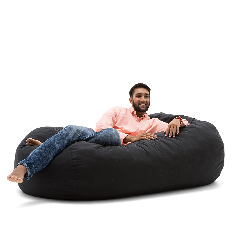 Big Joe Media Lounger Foam Filled Bean Bag Chair, Black