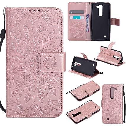 pinlu Flip Funda de Cuero para LG G4c(5 pollice)/LG Magna Carcasa con Función de Stent y Ranuras con Patrón de Girasol Cover (Oro Rosa)