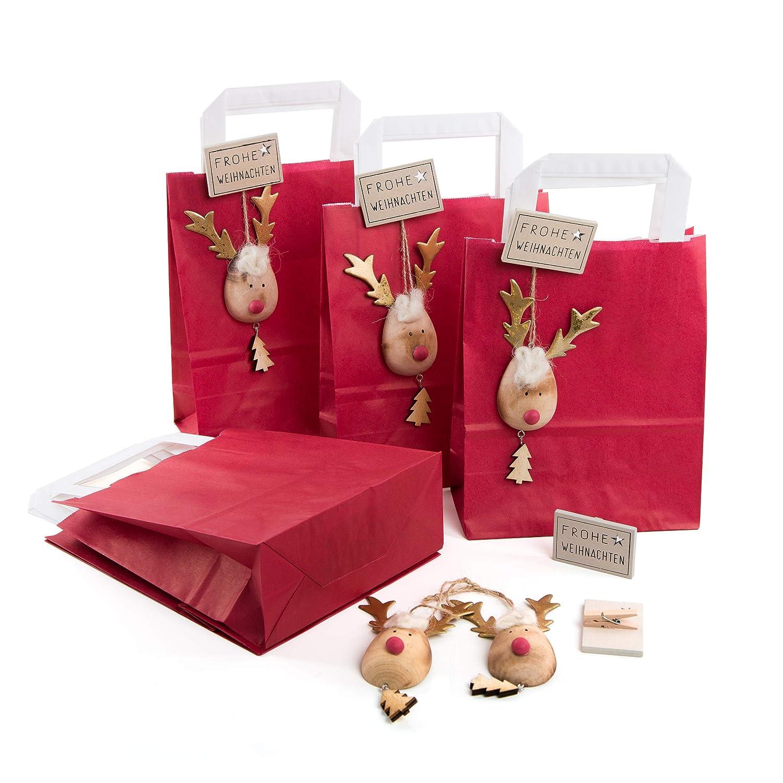 Amazon.de: 5 kleine ROTE Tüten Verpackung Frohe Weihnachten mit Holz ...