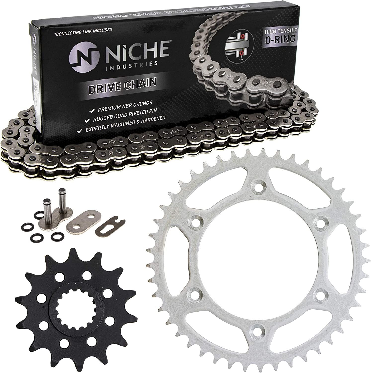 NICHE Drive Sprocket Chain Combo for KTM 125 EXC Six Days 360 MXC 540 SXS Front 14 Rear 45 Tooth 520V O-Ring 118 Links
