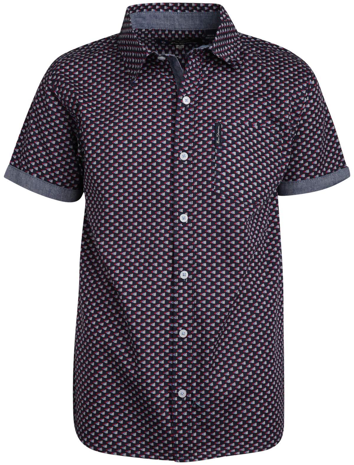 Ben Sherman Boys Short Sleeve Button Down Shirt (Navy/Pattern, 10/12)'