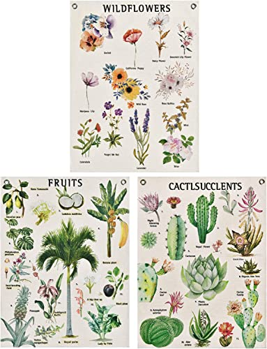 Pack of 3 Wildflowers Tapestry, Fruits Tapestry, Cactus Succulents Tapestries Tarot Tapestry Plants Tapestry Wall Hanging with Seamless Nails for Room 19.7 x 23.6 inches