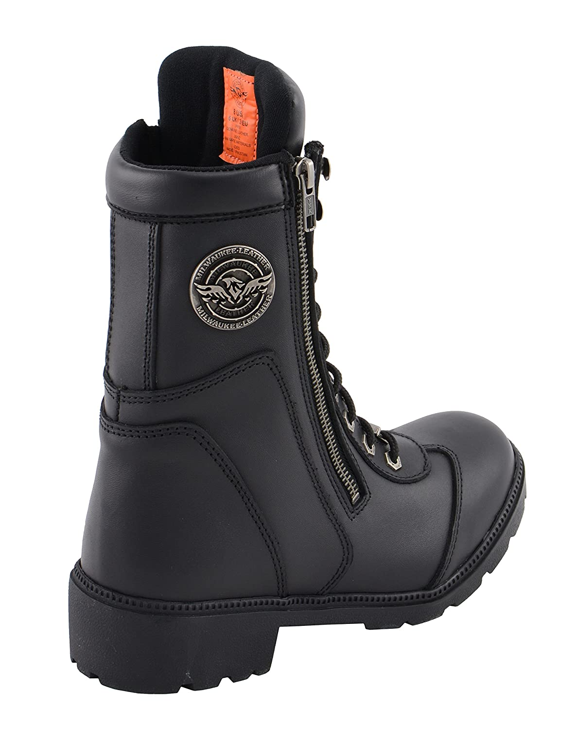 8 Milwaukee Leather MBL9301-BLACK-8 Womens Lace to Toe Boot Black