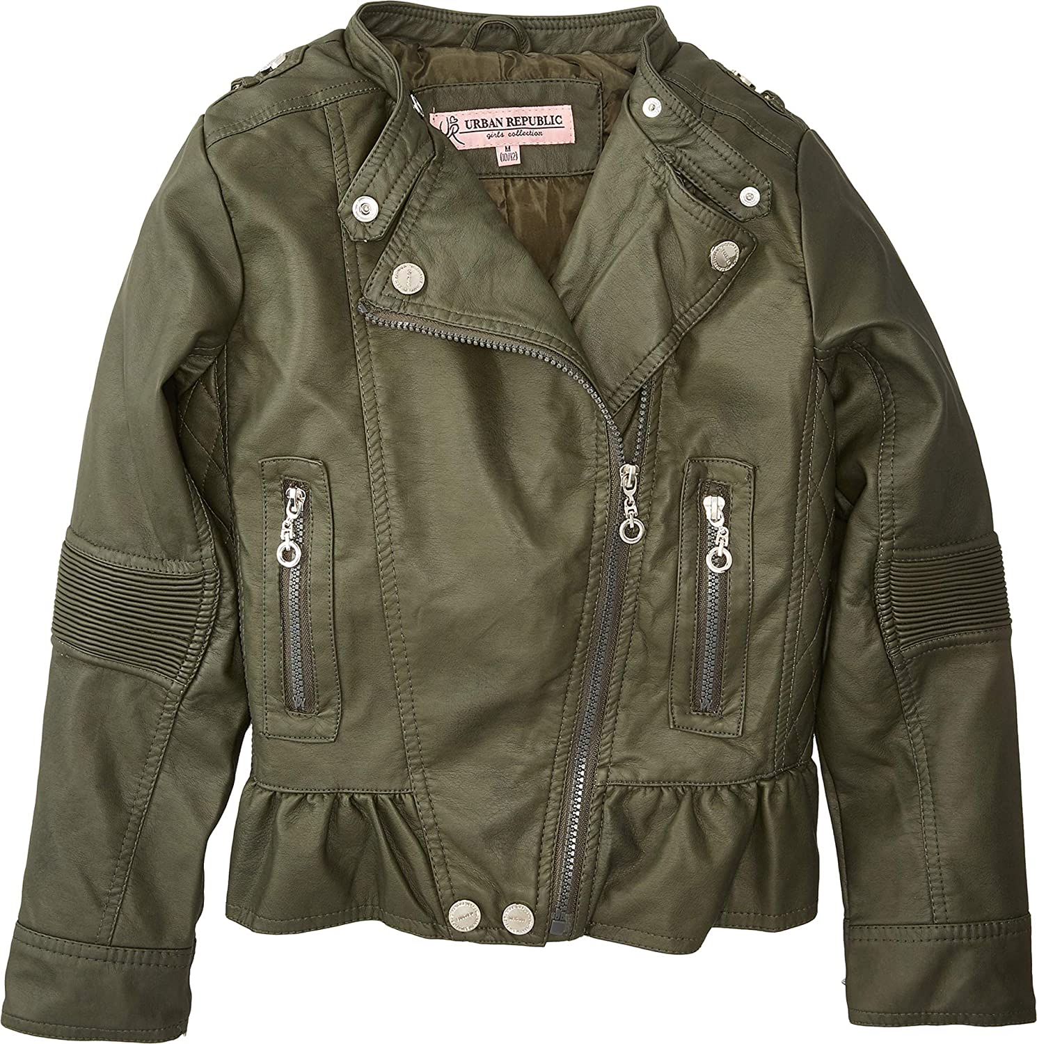 23c8732583ed6 Amazon.com  Urban Republic Kids Womens Alice Faux Leather Moto Jacket  w Ribbed Elbow and Peplum (Little Kids Big Kids)  Clothing
