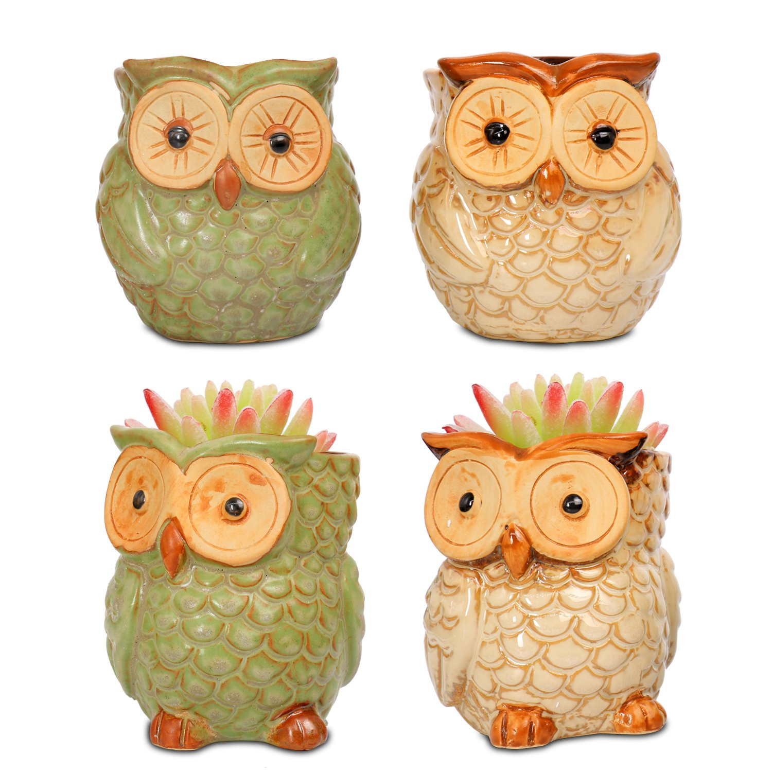 ROSE CREATE 4pcs 3.5 inches Owl Pots Planters (2 Retro Green Owls and 2 Beige Owls)