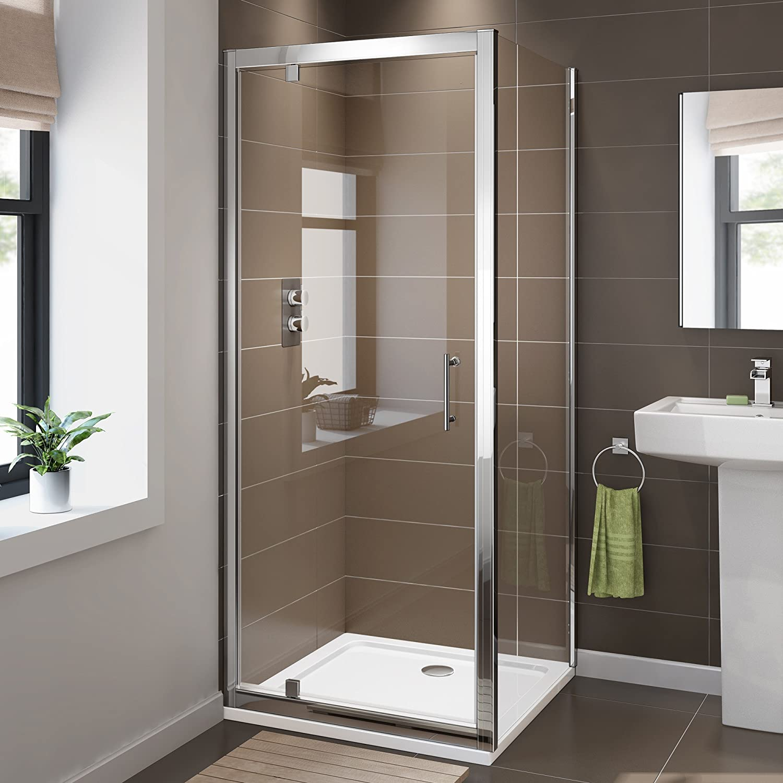 iBathUK 800 x 800 Pivot Hinge 6mm Glass Shower Enclosure Reversible ...