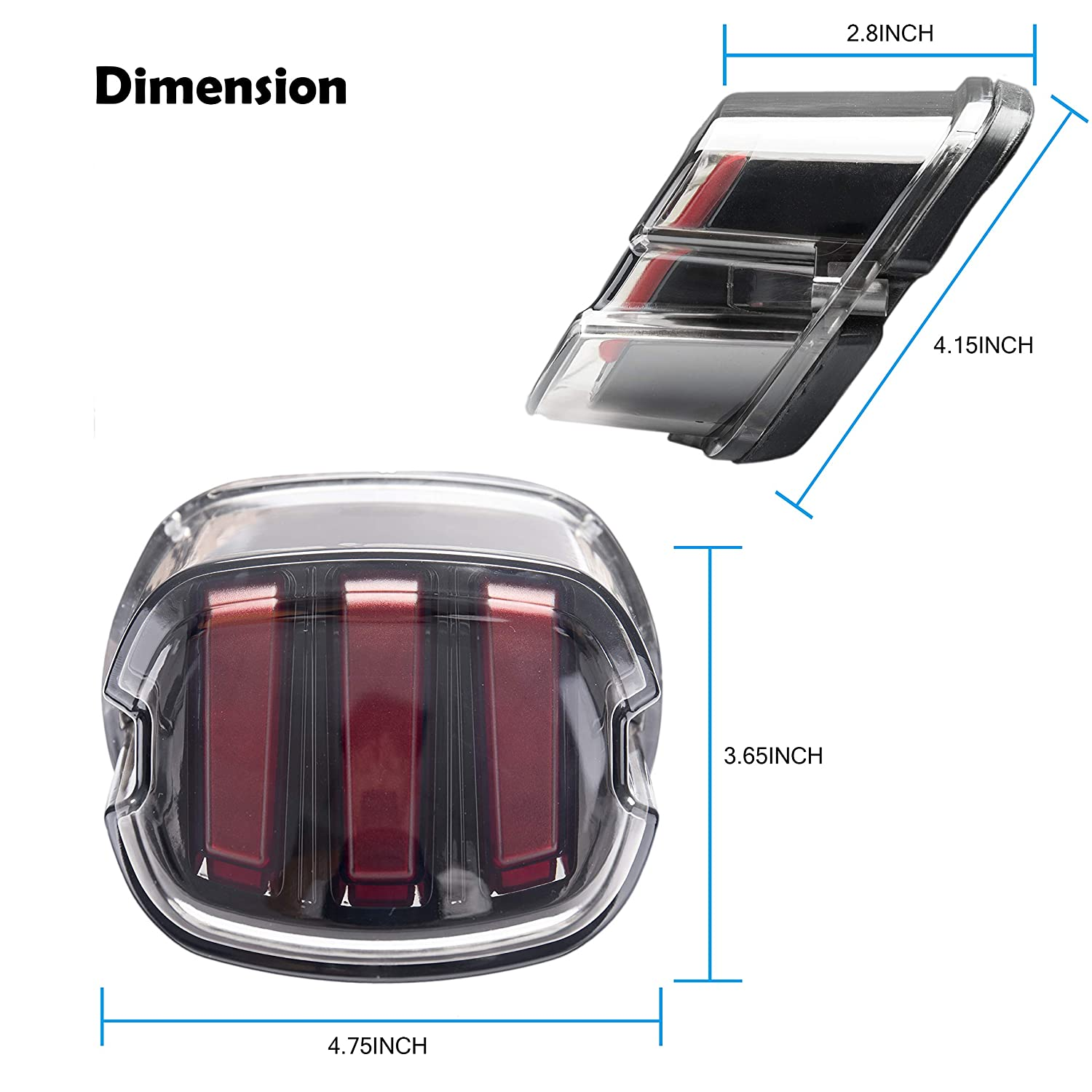Harley Tail Light LED Brake Running Lights Smoked Lay Down Style Motorcycle Tail Light for Harley Sportster Softail Dyna Road King Road Glide