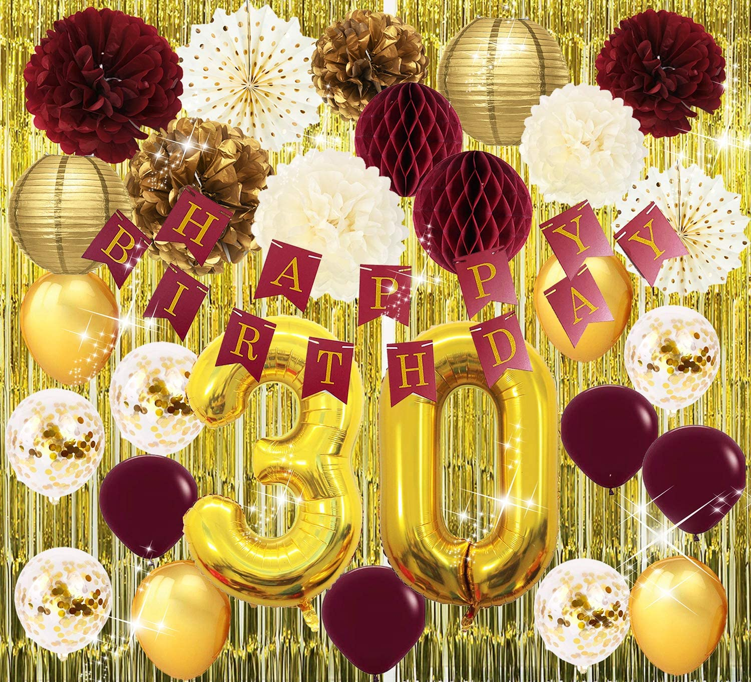 30th Birthday Party Decorations for Women Burgundy Gold Happy Birthday Banner Gold Foil Curtain Polka Dot Fans for Burgundy Fall Birthday Party Supplies/Women 30th Birthday Decorations