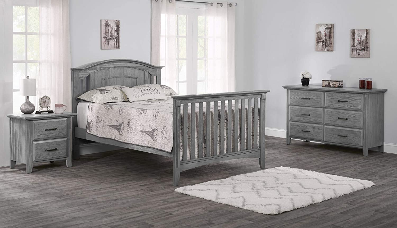 Full Size Conversion Kit Bed Rails for Oxford Baby Cribs Brushed Gray
