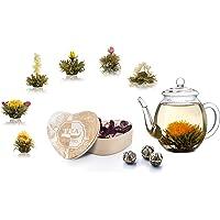 Creano cadeauset blooming tea Theebloemen mix in houten doosje in hartvorm - 6 soorten witte thee incl. glazen theepot…